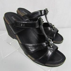 3d4af4cac Taos Footwear 9M Black Leather Wedge Heel Sandals